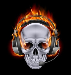 Flaming chrome metal skull with headphones speak vector
