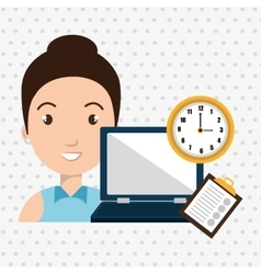 Woman with computer isolated icon design vector