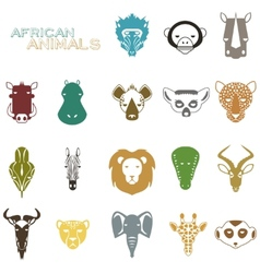 African Animals color icons vector image vector image