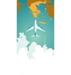 Airplane flying through clouds above the map vector image