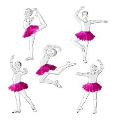 Ballerinas little girls dancing children vector
