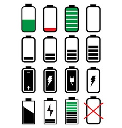 Battery life icons set vector image vector image