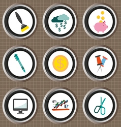 Business icons set flat style over brown backgroun vector image