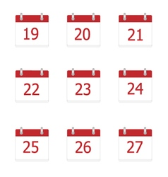 calendar app icons 19 to 27 days vector image