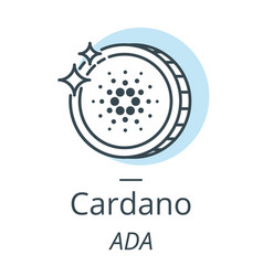 cardano cryptocurrency coin line icon of virtual vector image