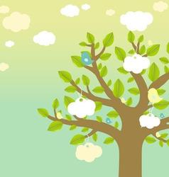 cartoon tree and bird vector image vector image