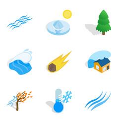 Cataclysm icons set isometric style vector
