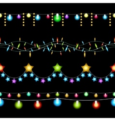 Christmas lights patterns vector image