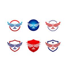 eagle logo set vector image vector image