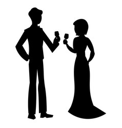 elegant couple in evening dress silhouette vector image vector image