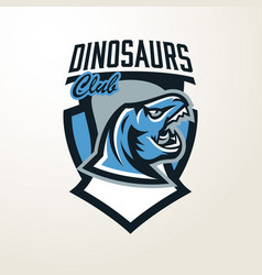Emblem sticker badge dinosaur head logo vector