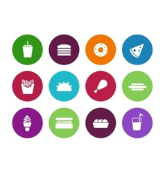 Fast food circle icons on white background vector