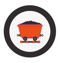 Mining wagon isolated icon vector