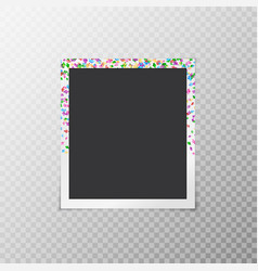 Photo frame with festive confetti vector