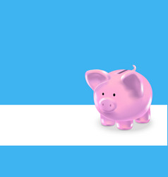 Realistic money box pink pig background card vector