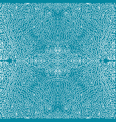 Seamless aqua tile with lacy patterns hand vector
