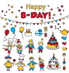 Set of birthday party elements with kids vector