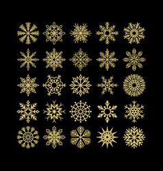 set of christmas and new year snowflakes vector image