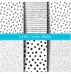 set of six hand drawn ink seamless patterns vector image