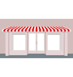 Showcase shop rose shop building striped awning vector