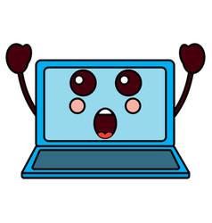 Suprised laptop kawaii icon image vector