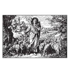The parable of the good shepherd coming home with vector