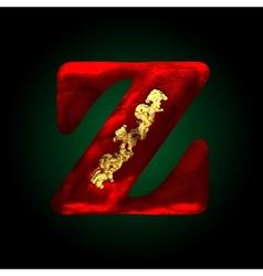 Velvet z letter with gold vector