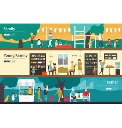 Family young father flat interior outdoor concept vector