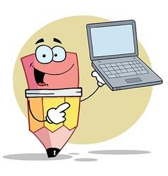 Pencil cartoon character presents notebook vector