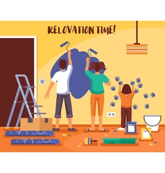 Renovation time flat vector