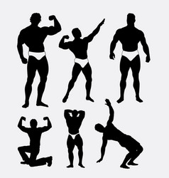 Body builder man actio silhouette vector