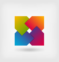 Abstract square symbol in rainbow colors vector