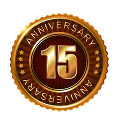 15 years anniversary golden brown label vector image