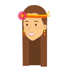 woman with headband character hippy lifestyle vector image