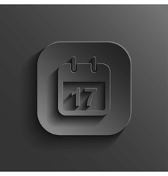 Calendar icon - black app button vector