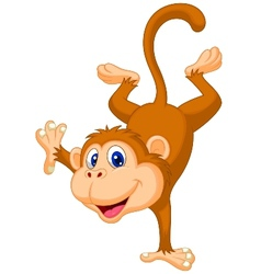 Cute monkey cartoon standing in its hand vector