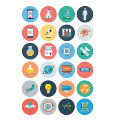 Flat science and technology icons 1 vector