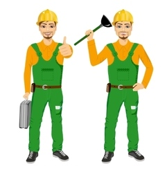 Plumber holding plunger in green uniform vector