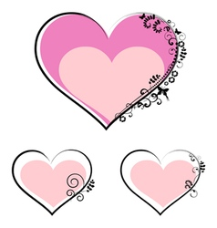 Valentines day hearts with floral motifs vector