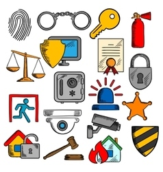 Security safety and protection icons vector image
