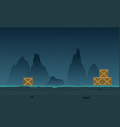At night landscape cliff game background vector