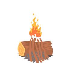 bonfire campfire logs burning cartoon vector image vector image