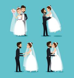 bride and groom set wedding couples romantic vector image vector image