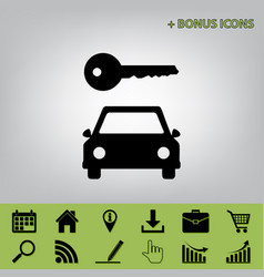 Car key simplistic sign black icon at vector