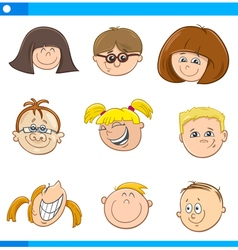 cartoon children characters set vector image vector image
