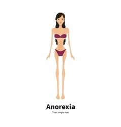 Cartoon girl with anorexia nervosa vector