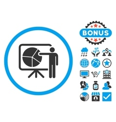 Chart demonstration flat icon with bonus vector