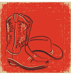Cowboy boots and western hat Sketch on red vector image