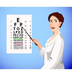 Doctor shows an eye chart vector image