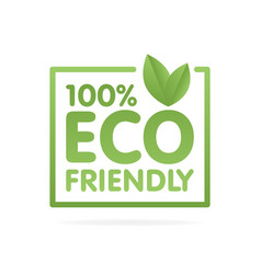 Eco friendly green leaf label sticker vector